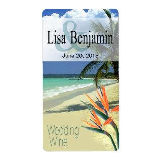 La esmeralda riega el vino tropical del boda de etiqueta de envío
