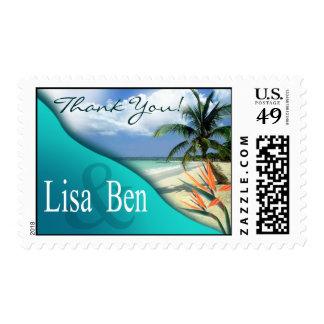 La esmeralda riega la aguamarina tropical de la sello postal