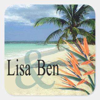 La esmeralda riega la playa tropical pegatina cuadrada