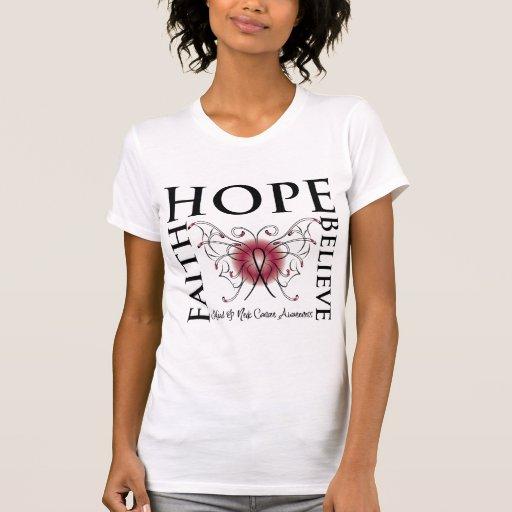 La esperanza cree la fe - cáncer de cabeza y cuell camisetas