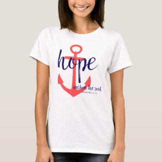 La esperanza cristiana del rojo y de la marina de playera