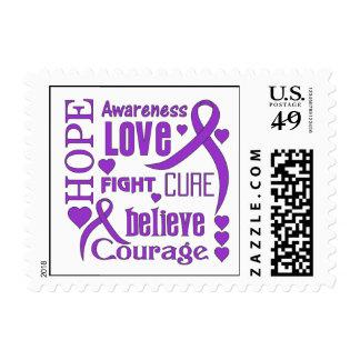 La esperanza de la epilepsia redacta el collage timbre postal