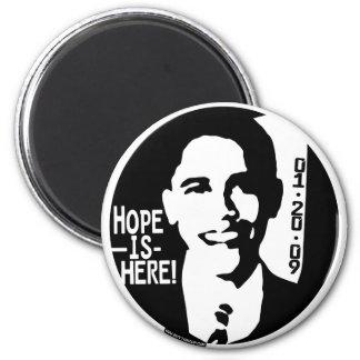 La esperanza de Obama está aquí el engranaje 2009 Imán Redondo 5 Cm