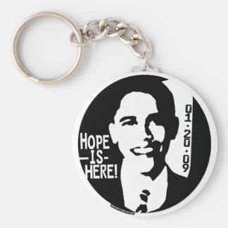 La esperanza de Obama está aquí el engranaje 2009 Llavero Redondo Tipo Pin