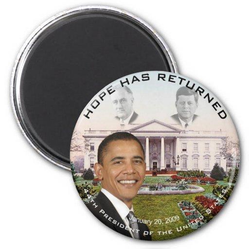 La esperanza de Obama FDR JFK ha vuelto el 20 de Imán Redondo 5 Cm
