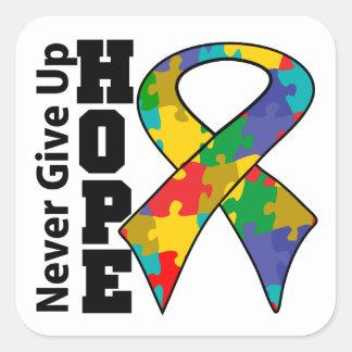 La esperanza del autismo nunca da para arriba calcomanía cuadradase