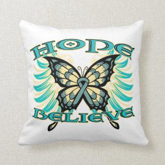 La esperanza del cáncer ovárico cree la mariposa almohada