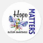 La esperanza importa autismo de la mariposa pegatinas redondas