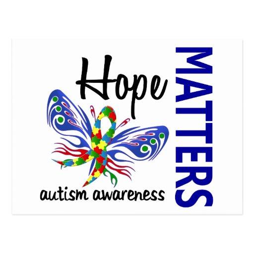 La esperanza importa autismo de la mariposa tarjeta postal