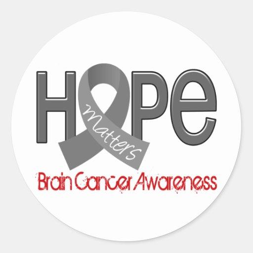 La esperanza importa cáncer de cerebro 2 pegatina redonda