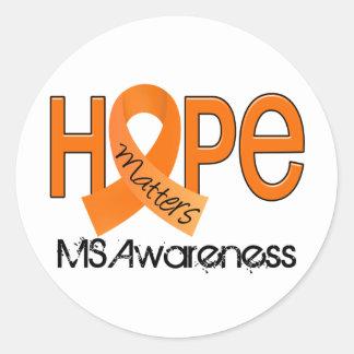 La esperanza importa esclerosis múltiple de 2 ms pegatina redonda
