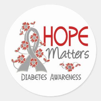 La esperanza importa la diabetes 3 pegatina redonda