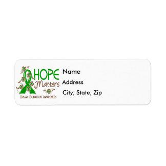 La esperanza importa la donación de órganos 3 etiquetas de remite