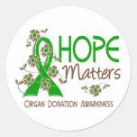 La esperanza importa la donación de órganos 3 pegatinas redondas