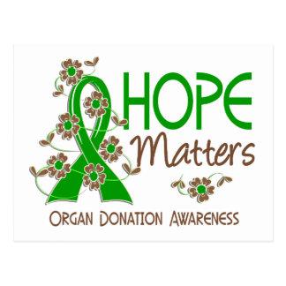La esperanza importa la donación de órganos 3 postales