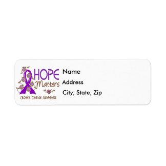 La esperanza importa la enfermedad de 3 Crohnes Etiqueta De Remite