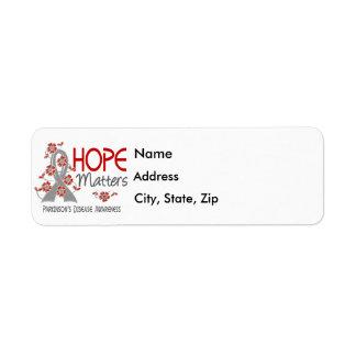 La esperanza importa la enfermedad de 3 Parkinson Etiquetas De Remite
