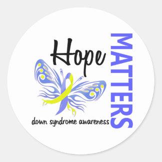 La esperanza importa mariposa Síndrome de Down Pegatina Redonda