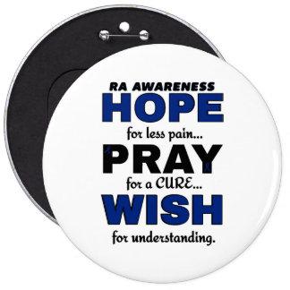 La esperanza ruega el RA del deseo… Pin Redondo De 6 Pulgadas