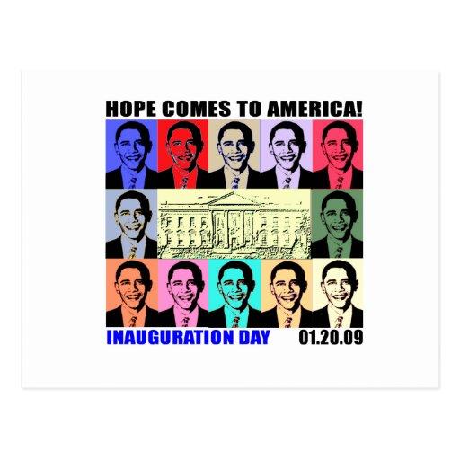 La esperanza viene a América - día de inauguración Postal