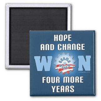 La esperanza y el cambio ganaron cuatro más años imán cuadrado