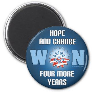 La esperanza y el cambio ganaron cuatro más años imán redondo 5 cm