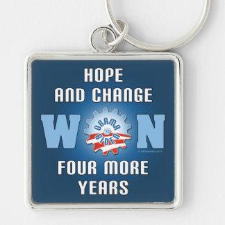 La esperanza y el cambio ganaron cuatro más años llavero cuadrado plateado