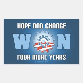 La esperanza y el cambio ganaron cuatro más años pegatina rectangular