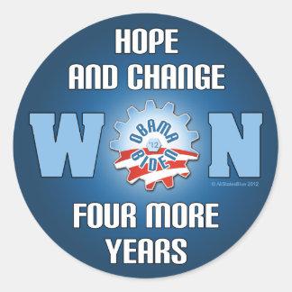 La esperanza y el cambio ganaron cuatro más años pegatina redonda