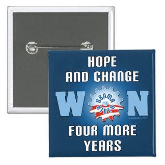 La esperanza y el cambio ganaron cuatro más años pin cuadrado