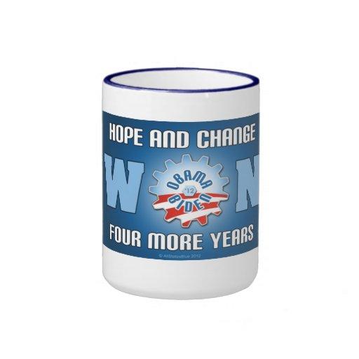 La esperanza y el cambio ganaron cuatro más años taza a dos colores