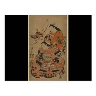 La esposa de un samurai lo prepara para la batalla postales