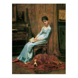 La esposa del artista y su perro del organismo tarjeta postal