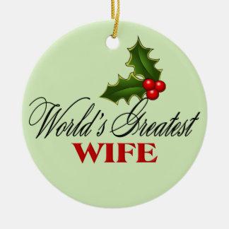 La esposa más grande del mundo adorno redondo de cerámica