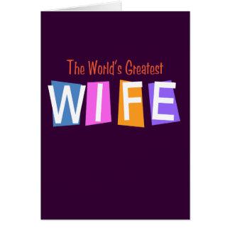La esposa más grande del mundo retro tarjeta de felicitación