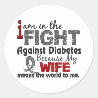 La esposa significa el mundo a mí diabetes pegatina redonda