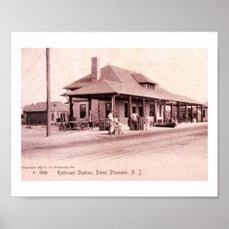 La estación de tren, señala agradable, vintage de póster