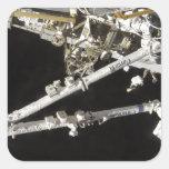 La estación espacial Canadiense-construida Calcomanías Cuadradass Personalizadas