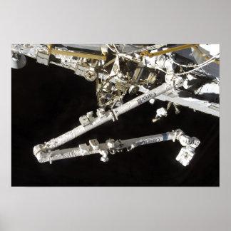 La estación espacial Canadiense-construida Póster