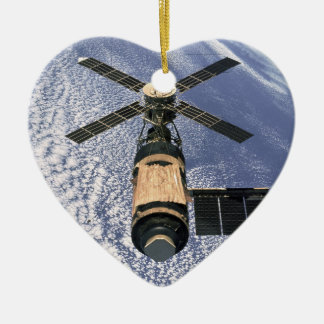 La estación espacial de Skylab - vea ambos lados Adorno Navideño De Cerámica En Forma De Corazón