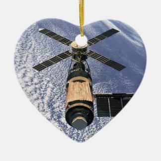 La estación espacial de Skylab - vea ambos lados Adorno De Cerámica En Forma De Corazón