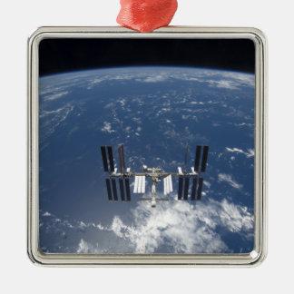 La estación espacial internacional 14 adorno navideño cuadrado de metal