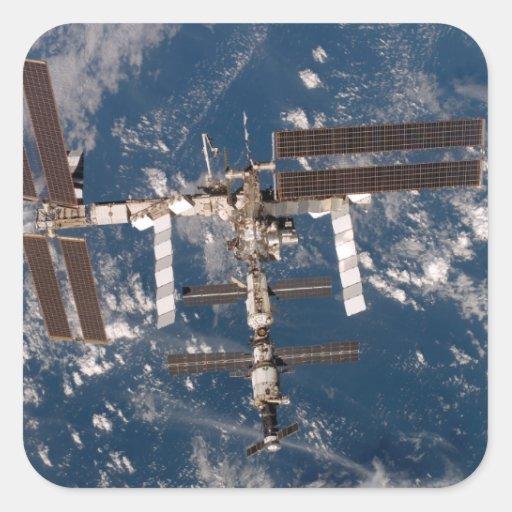 La estación espacial internacional 15 pegatina cuadrada
