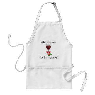 La estación Tis el vino divertido del navidad de Delantal