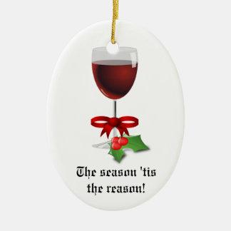 La estación Tis el vino divertido del navidad de Adorno De Navidad