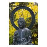 La estatua de Budda en el japonés cultiva un huert Cojinete