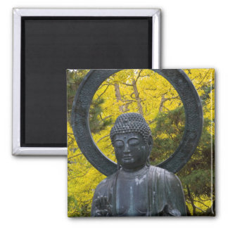 La estatua de Budda en el japonés cultiva un huert Imán Cuadrado