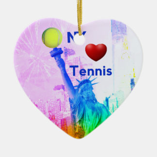 La estatua de la libertad ama tenis adorno navideño de cerámica en forma de corazón