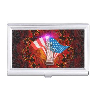 La estatua de la libertad con elmen florales cajas de tarjetas de presentación