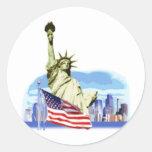La estatua de la libertad en New York City Pegatinas Redondas